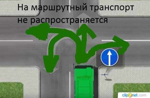 знак движение прямо не распространяется на маршрутный транспорт
