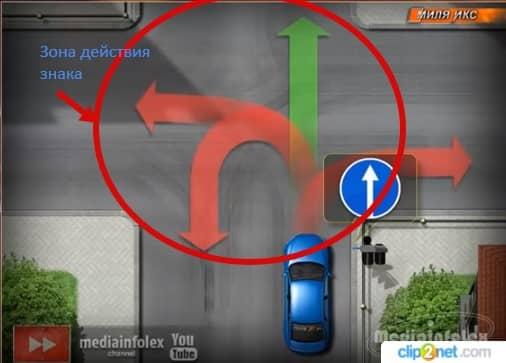 знак движение прямо на перекрестке