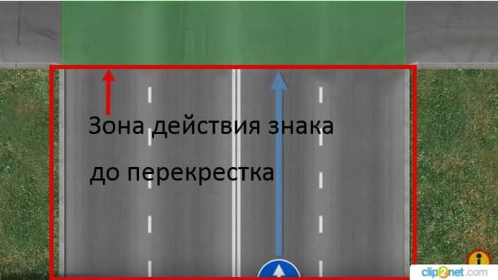 знак движение прямо зона действия до перекрестка