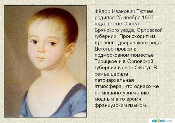Когда родился Тютчев Федор